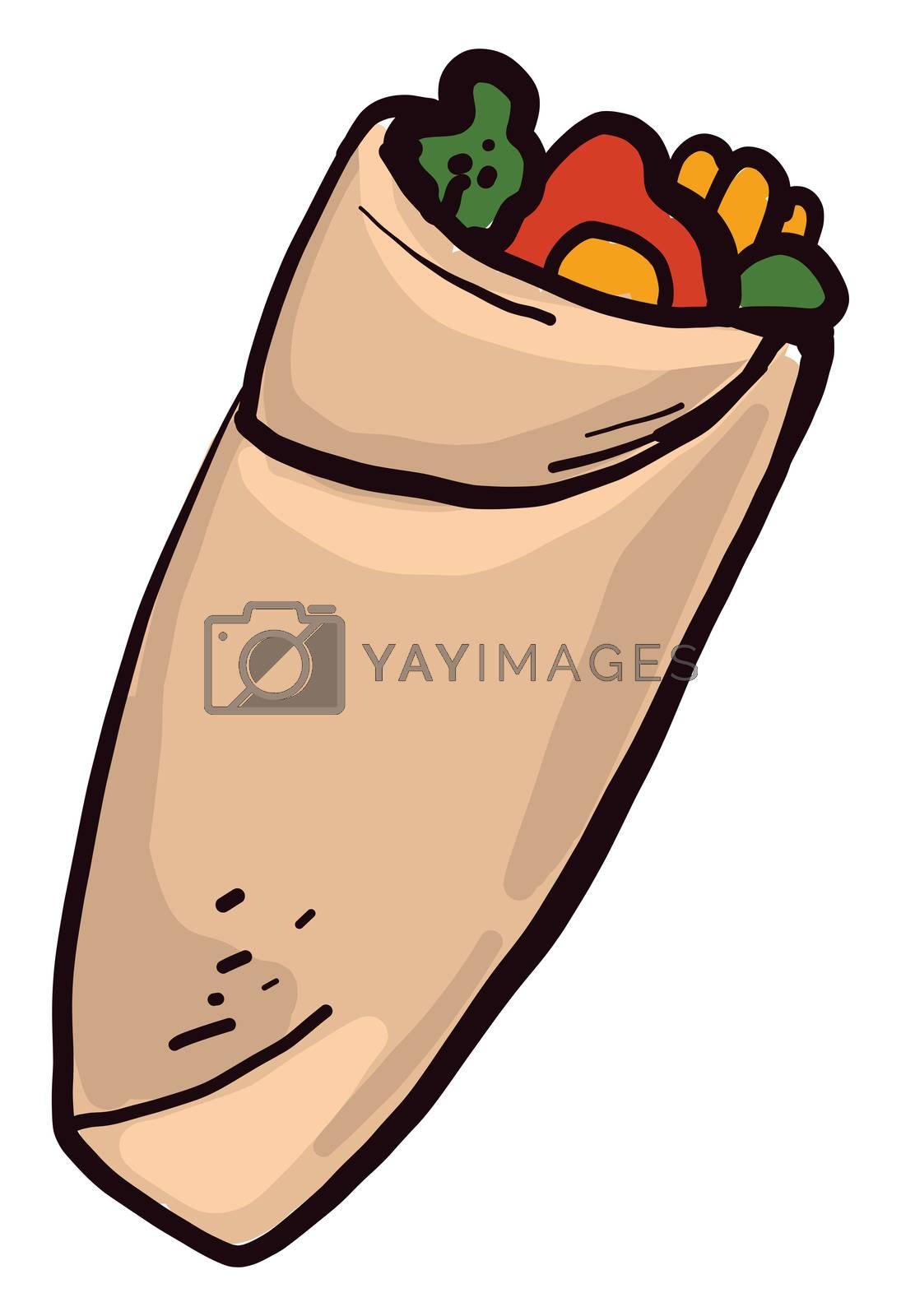 Tasty shawarma , illustration, vector on white background