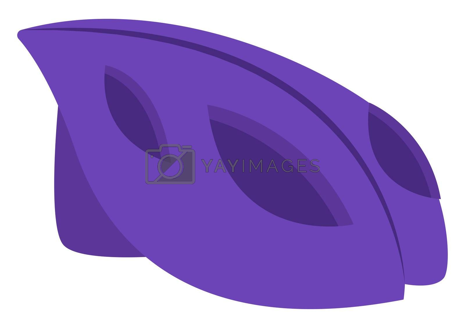 Purple bicycle helmet, illustration, vector on white background by Morphart