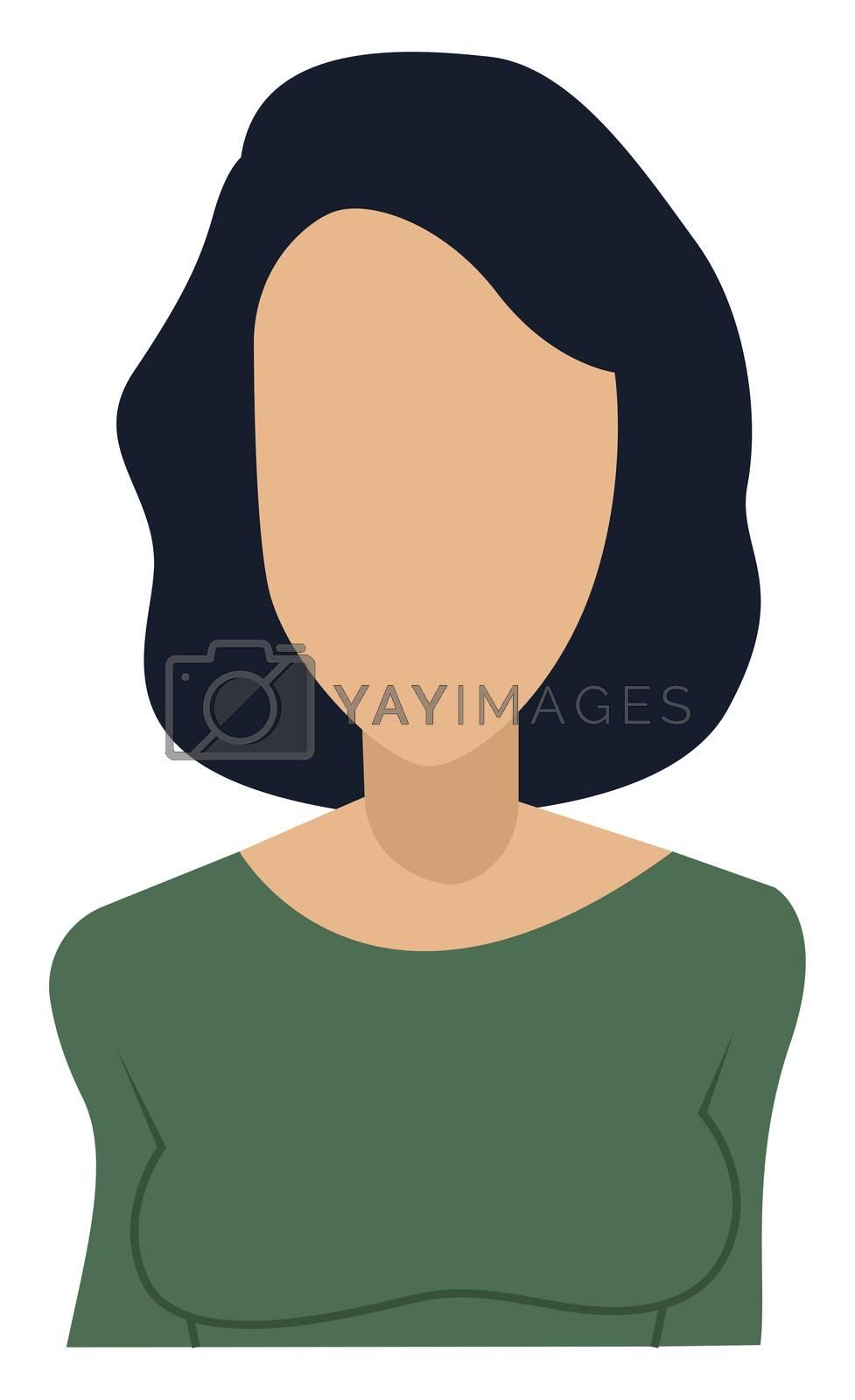Faceless female avatar, illustration, vector on white background