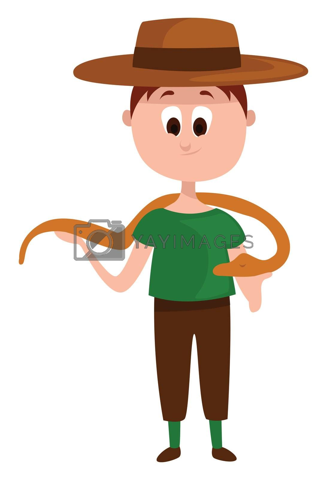 Zoologist with snake , illustration, vector on white background