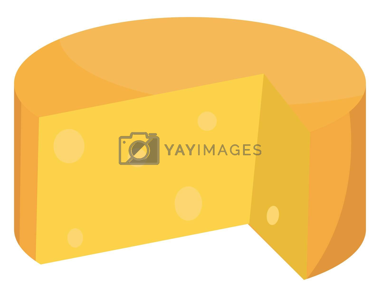 Eaten cheese, illustration, vector on white background