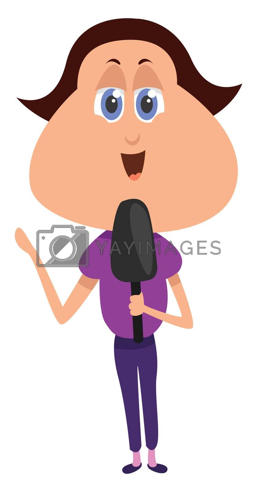 Woman journalist , illustration, vector on white background