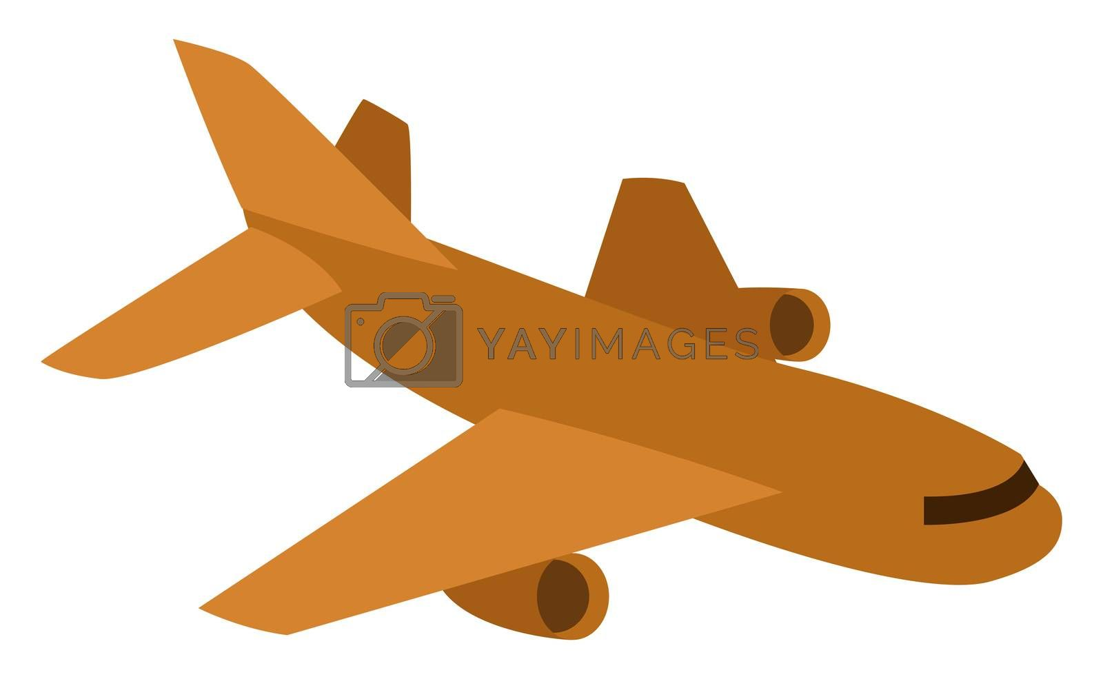 Brown flying aeroplane, illustration, vector on white background