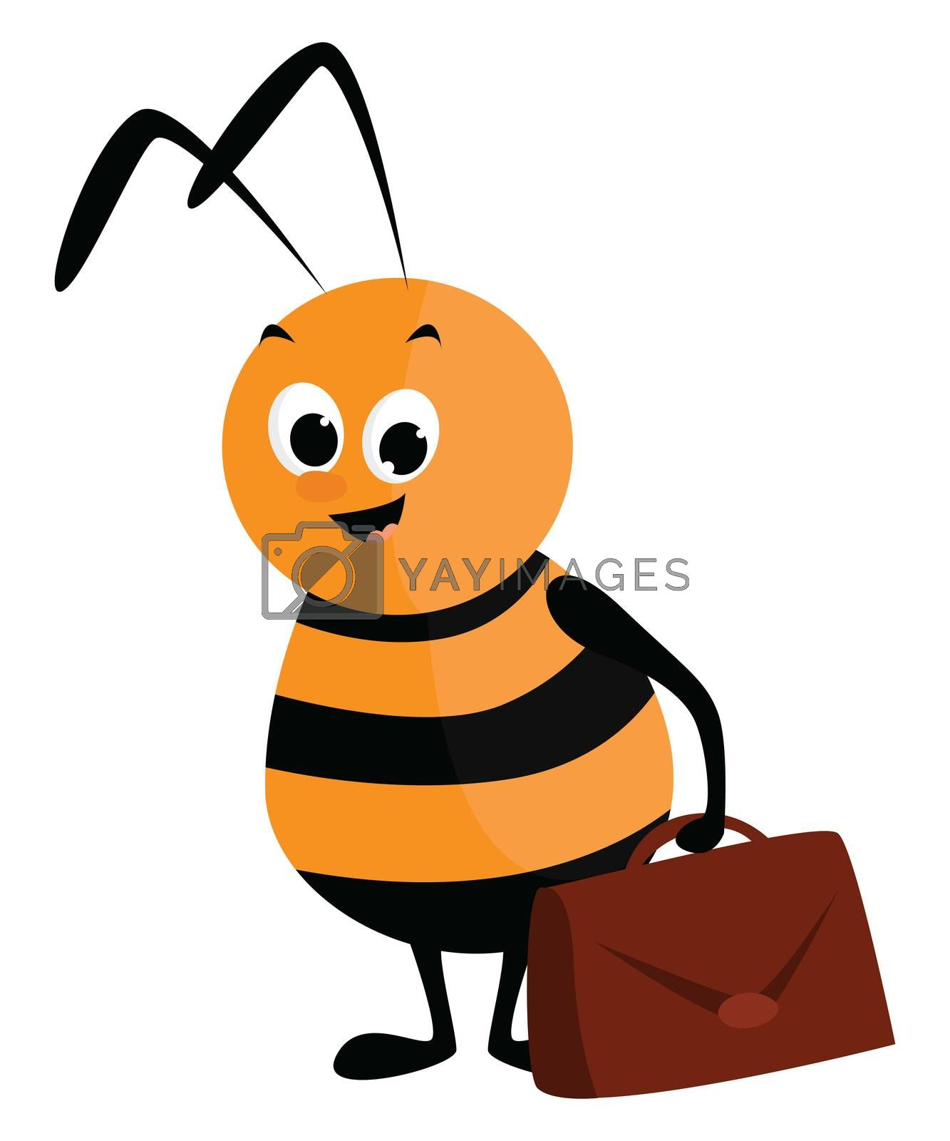 Working bee , illustration, vector on white background