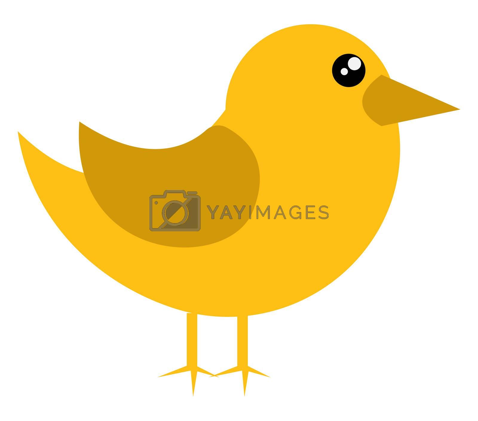 Small yellow bird, illustration, vector on white background
