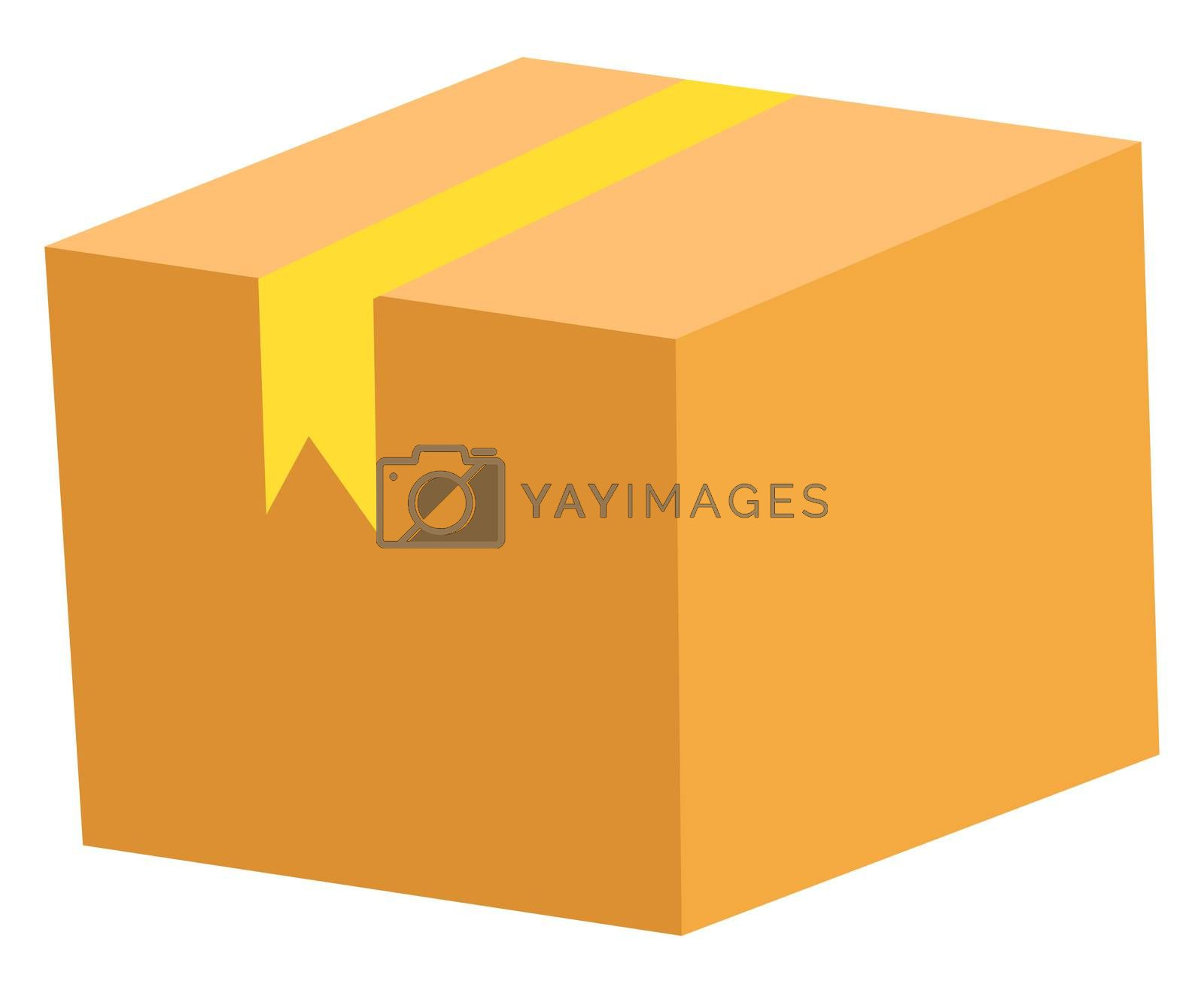 Orange box, illustration, vector on white background