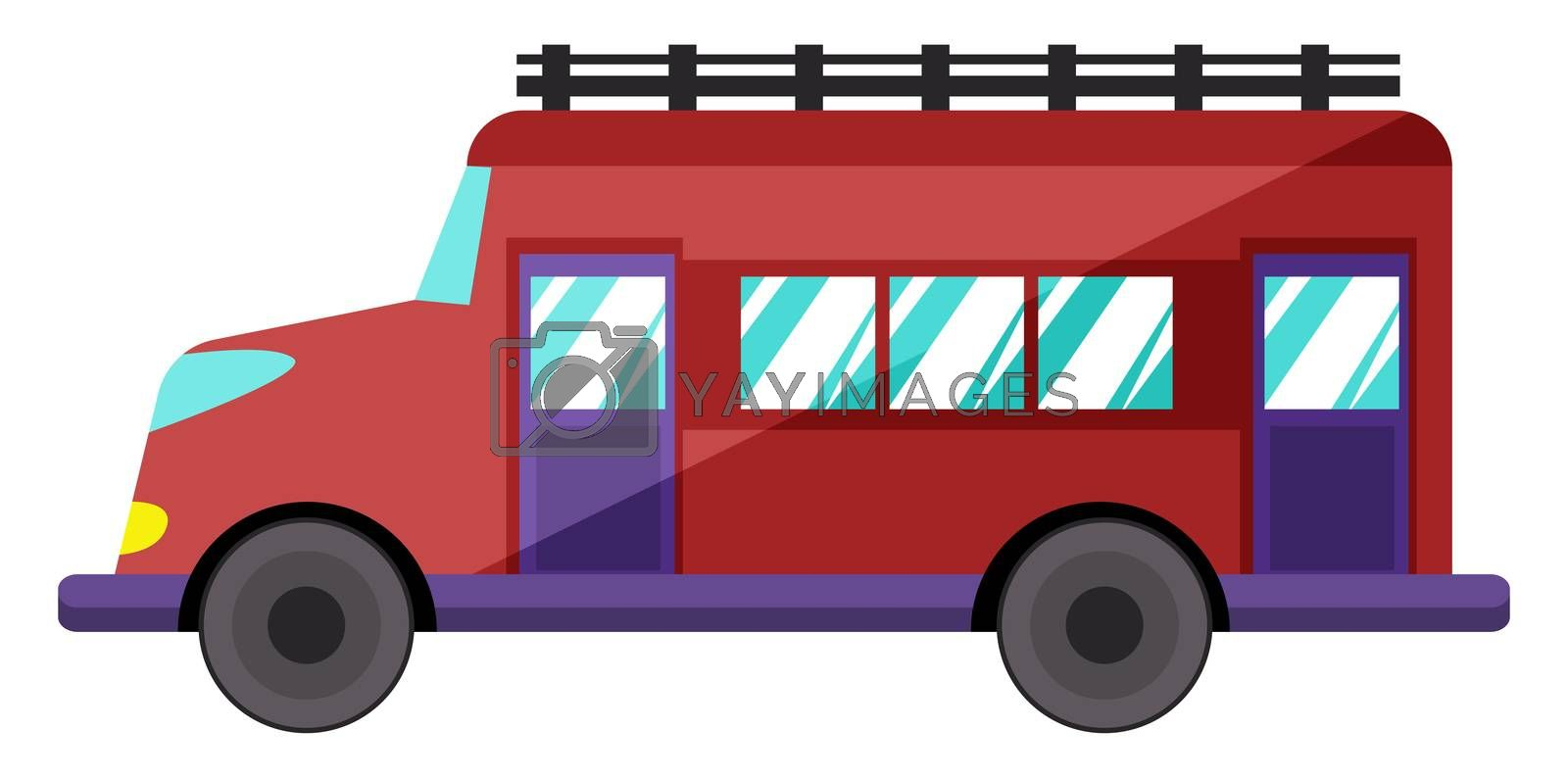 Red school bus, illustration, vector on white background