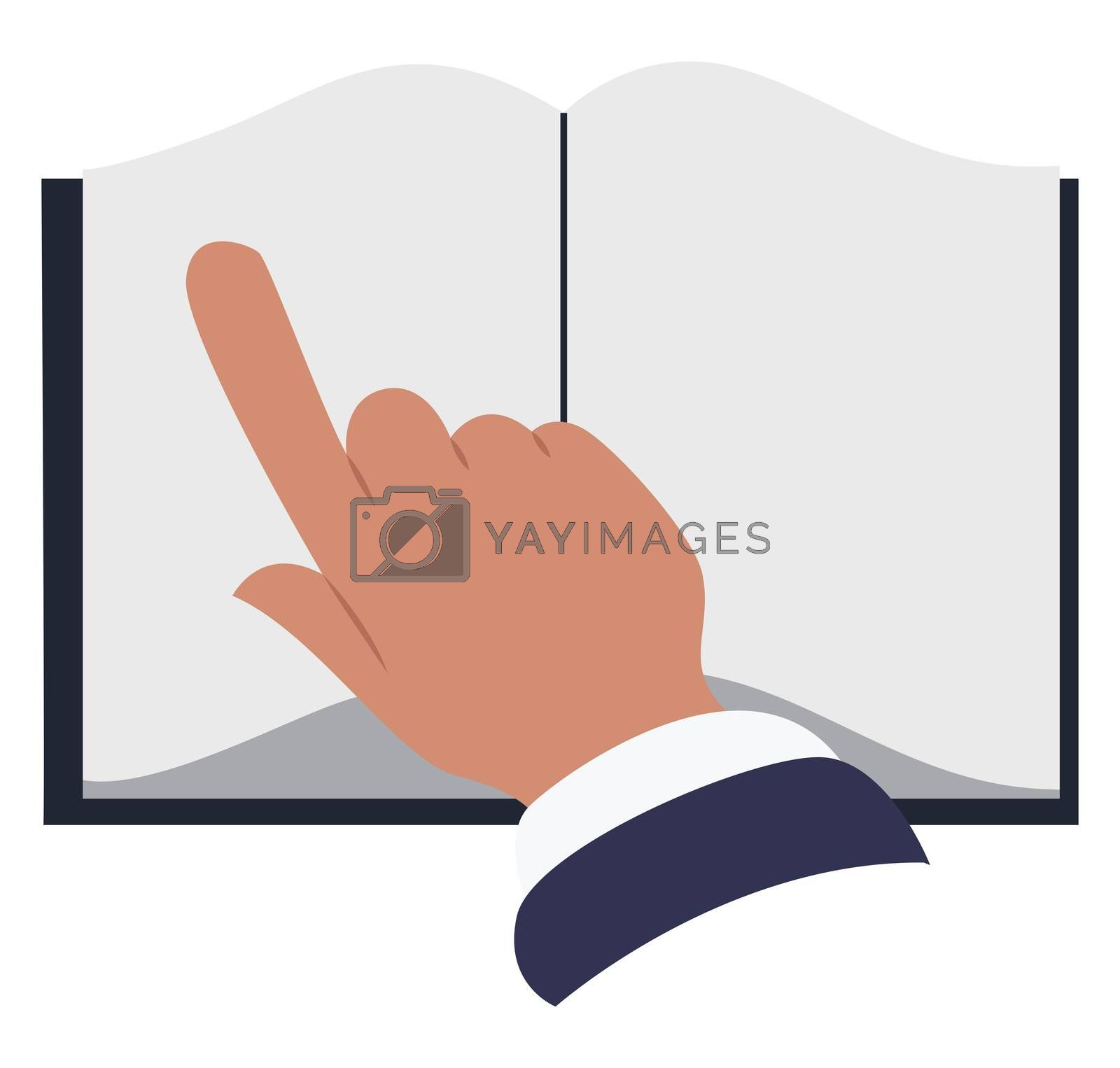 Opened book, illustration, vector on white background