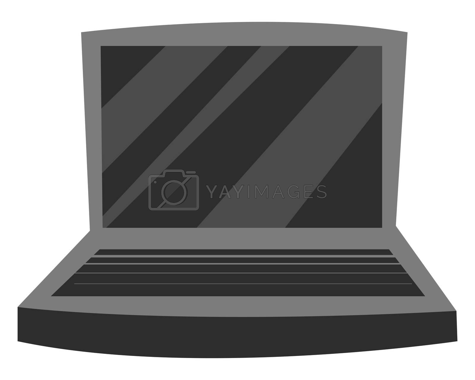 Black laptop, illustration, vector on white background