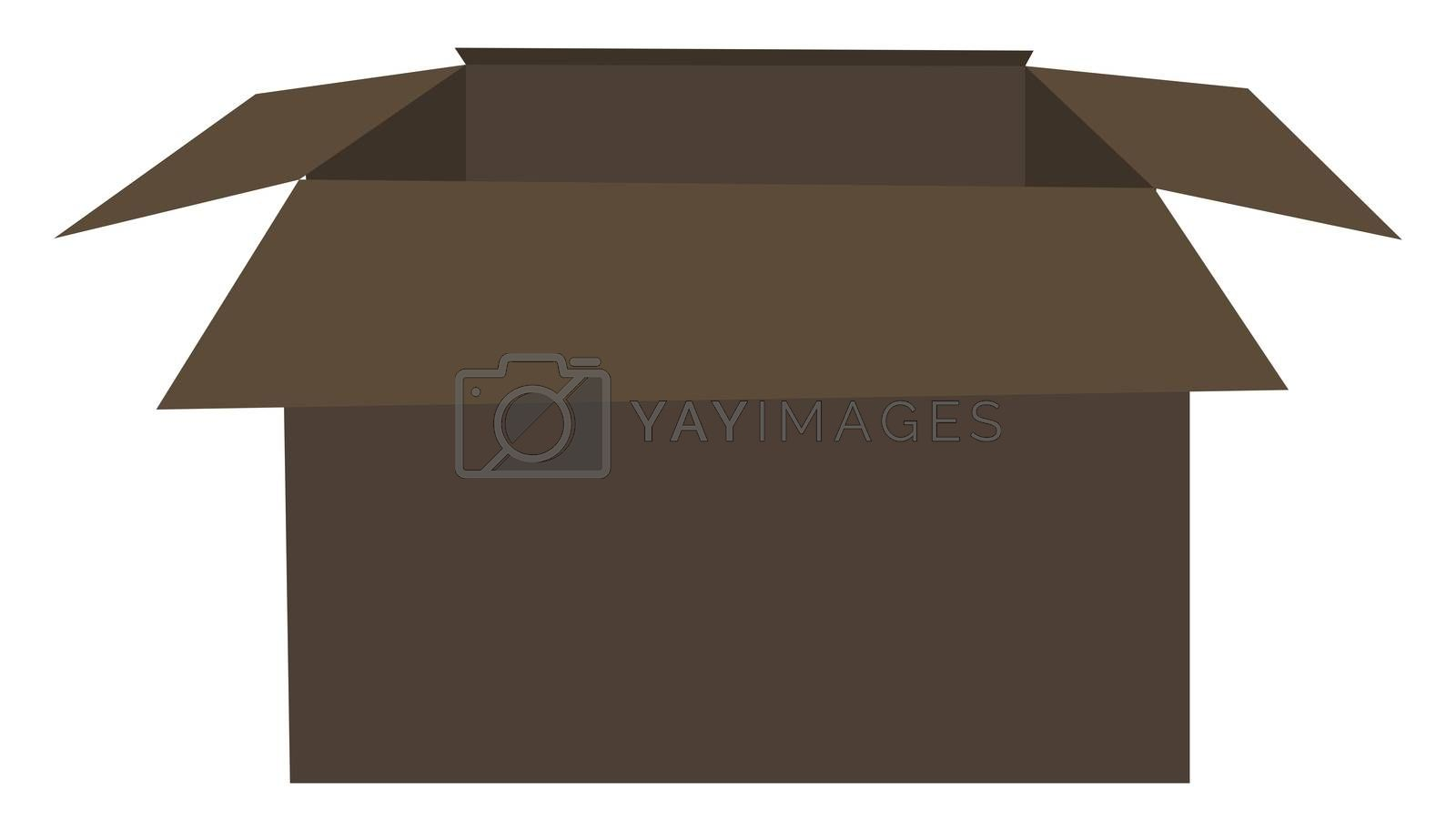 Open carton box, illustration, vector on white background