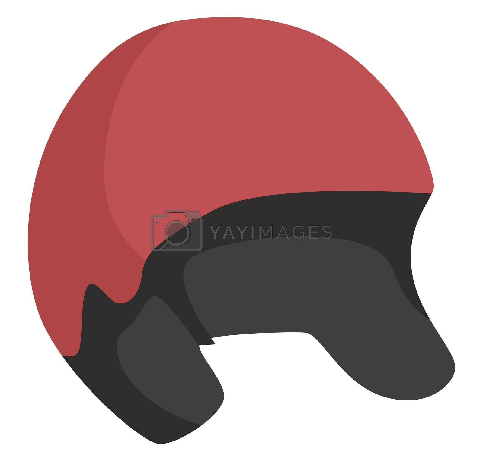 Red bicycle helmet, illustration, vector on white background