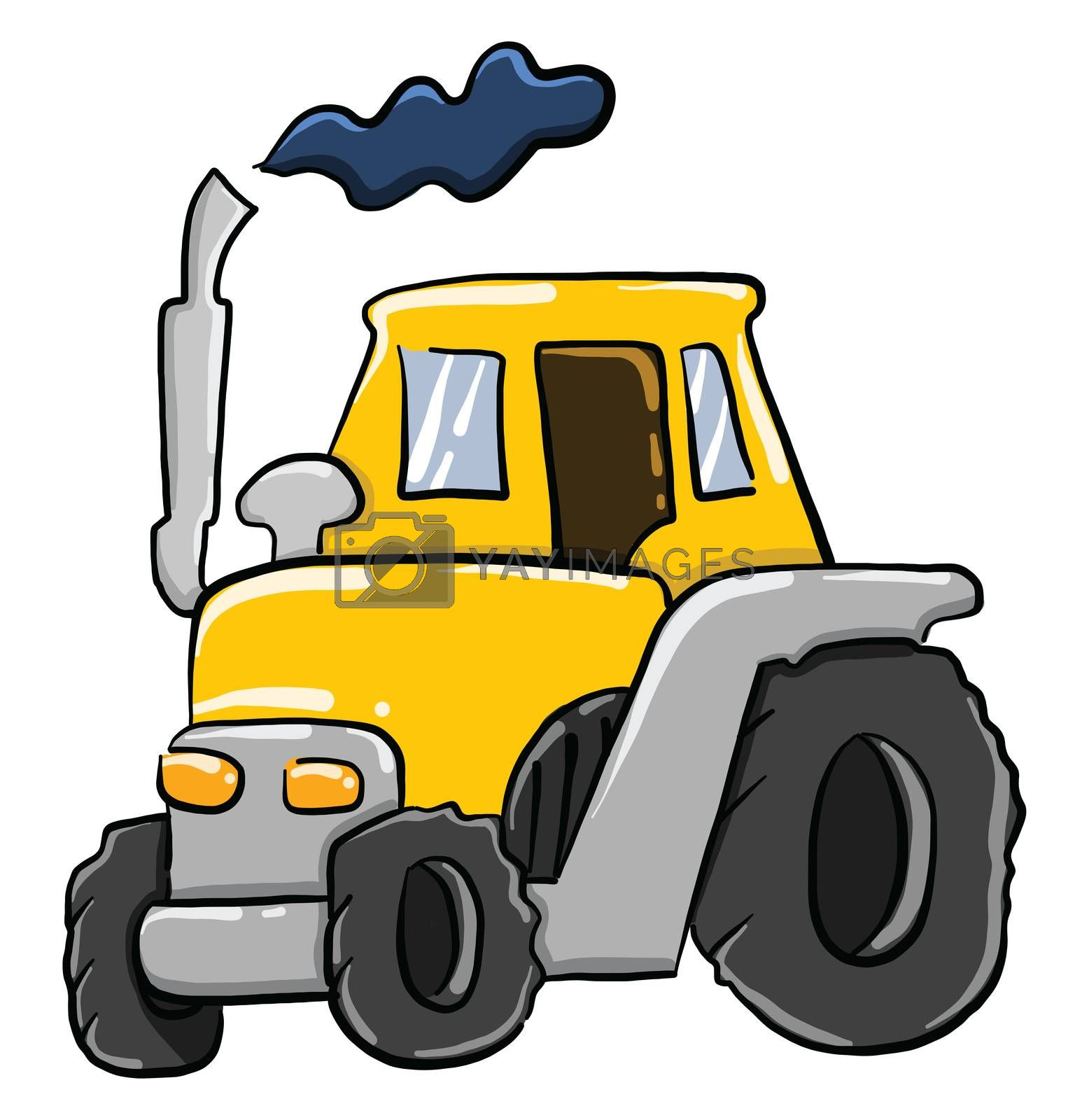Yellow tractor , illustration, vector on white background
