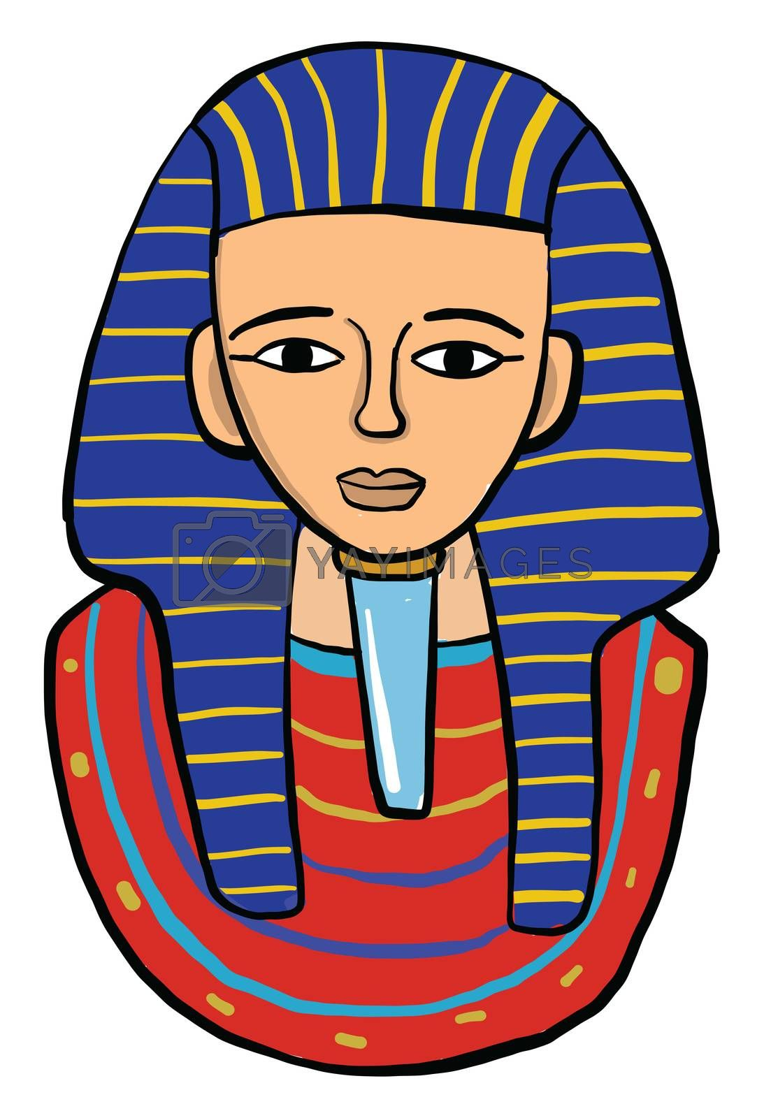 Tutankhamun , illustration, vector on white background