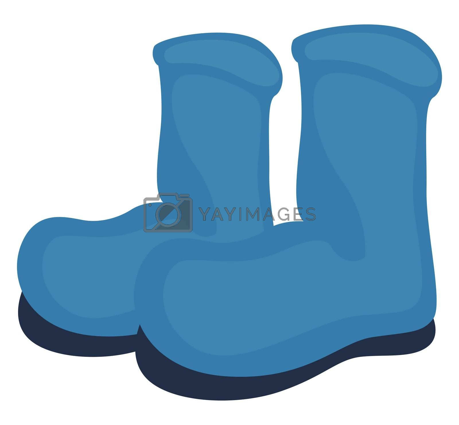 Blue winter boots, illustration, vector on white background