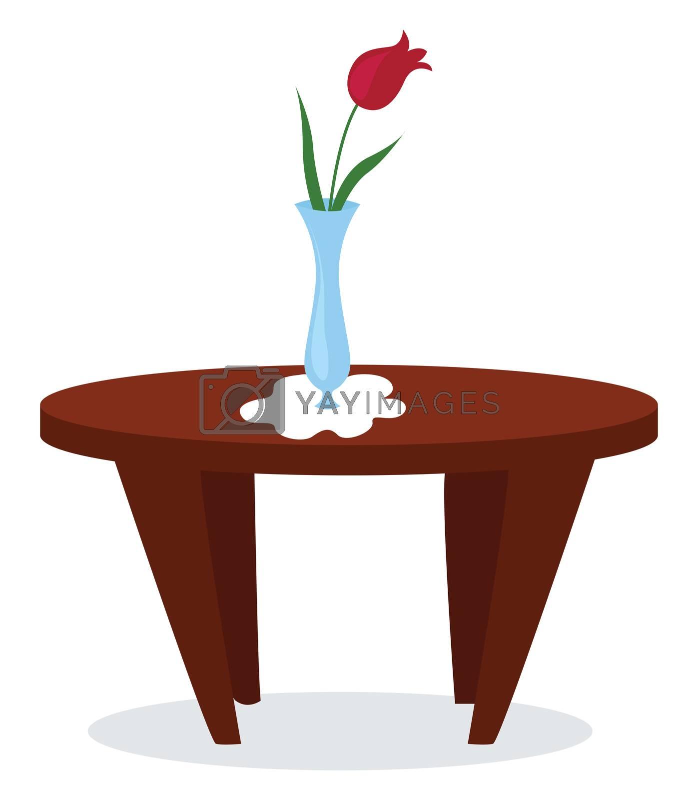 Vase with flower on table , illustration, vector on white background
