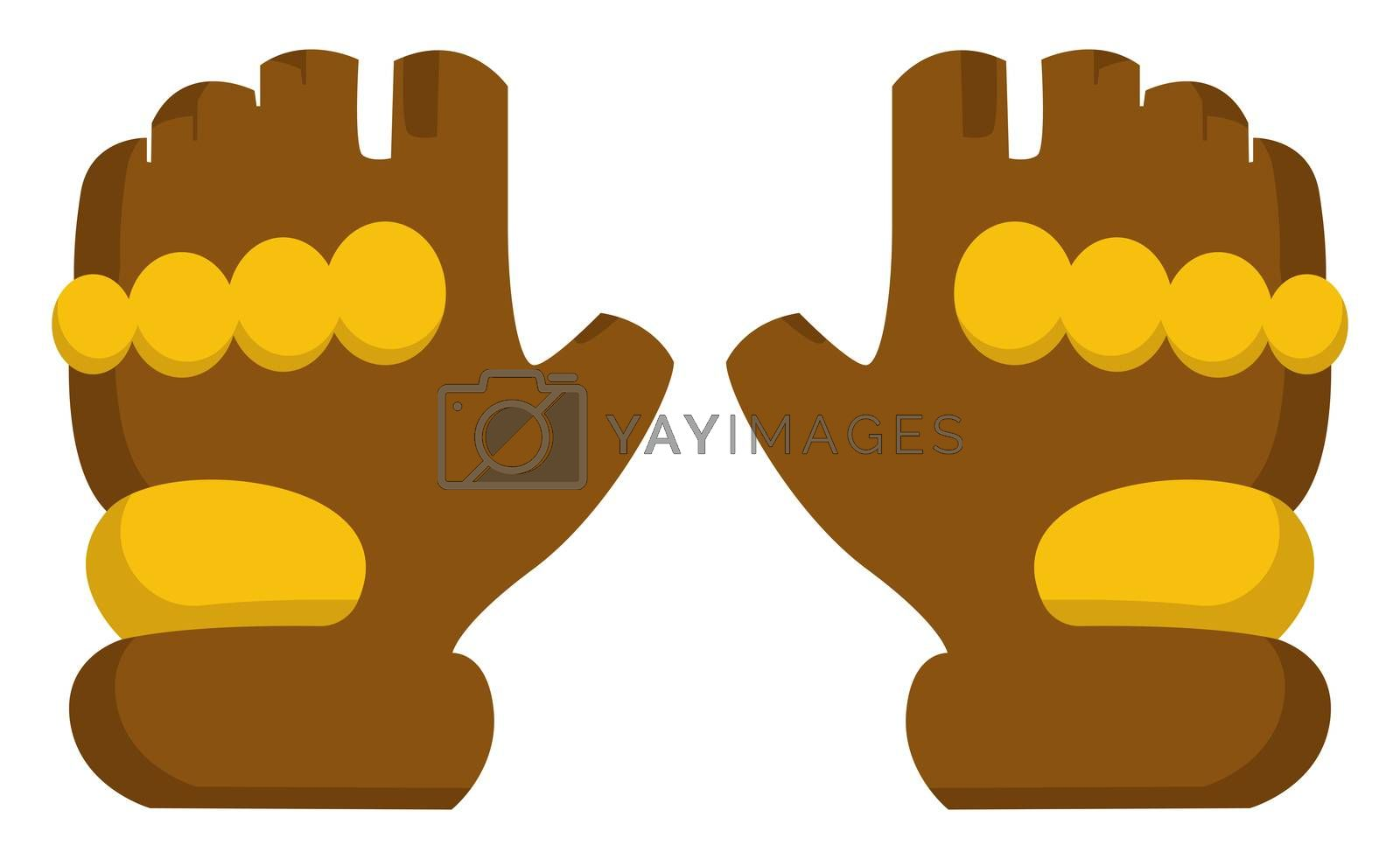 Military gloves, illustration, vector on white background