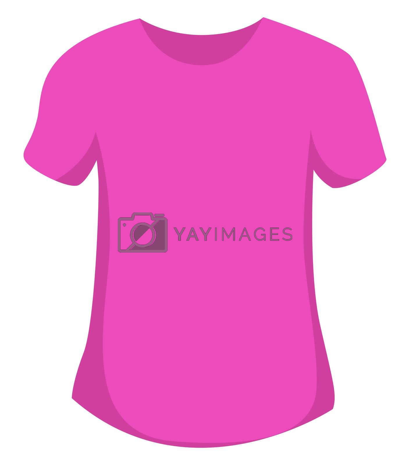 Woman pink t shirt, illustration, vector on white background