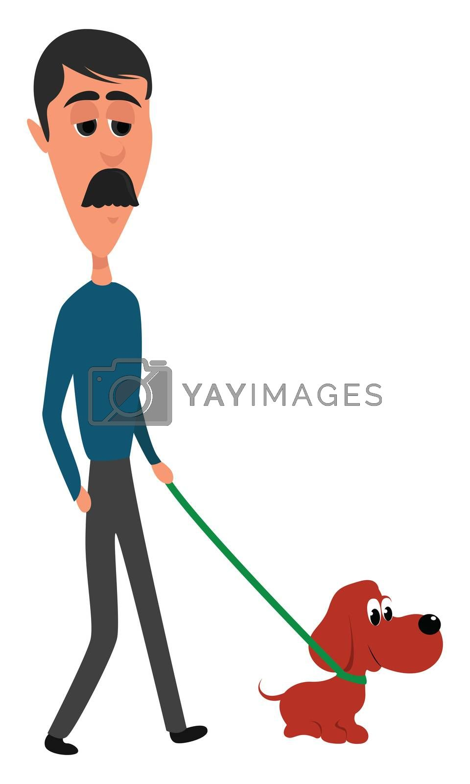 Man walking dog , illustration, vector on white background