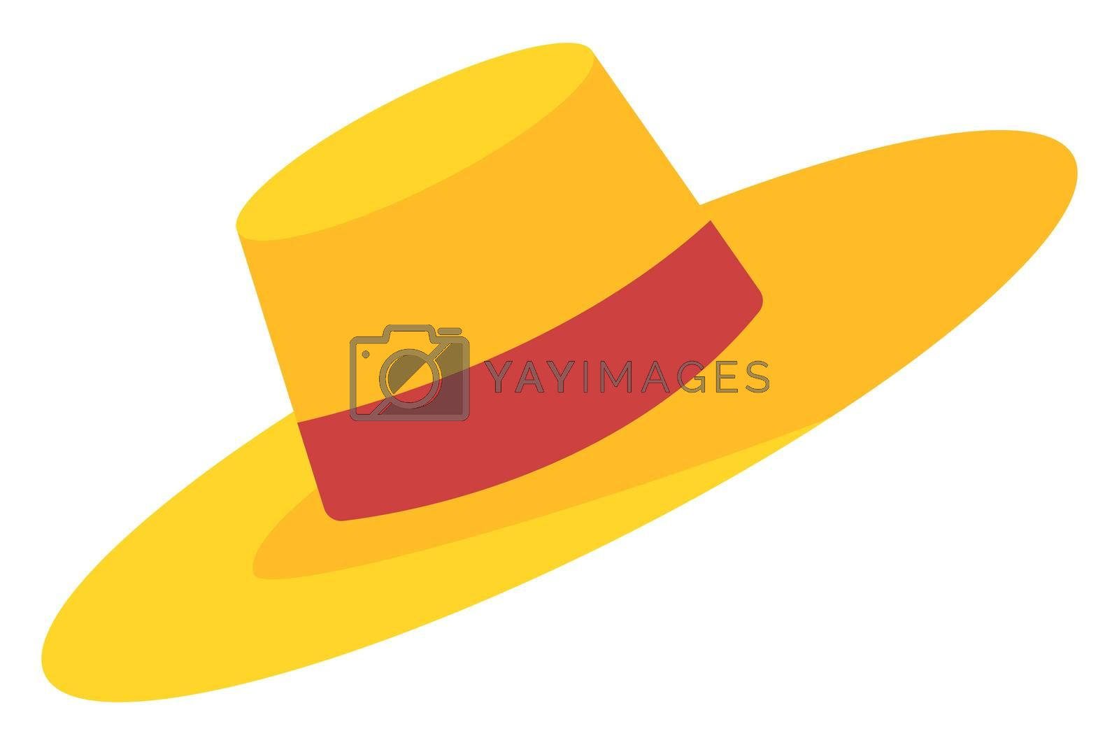 Yeellow summer hat, illustration, vector on white background