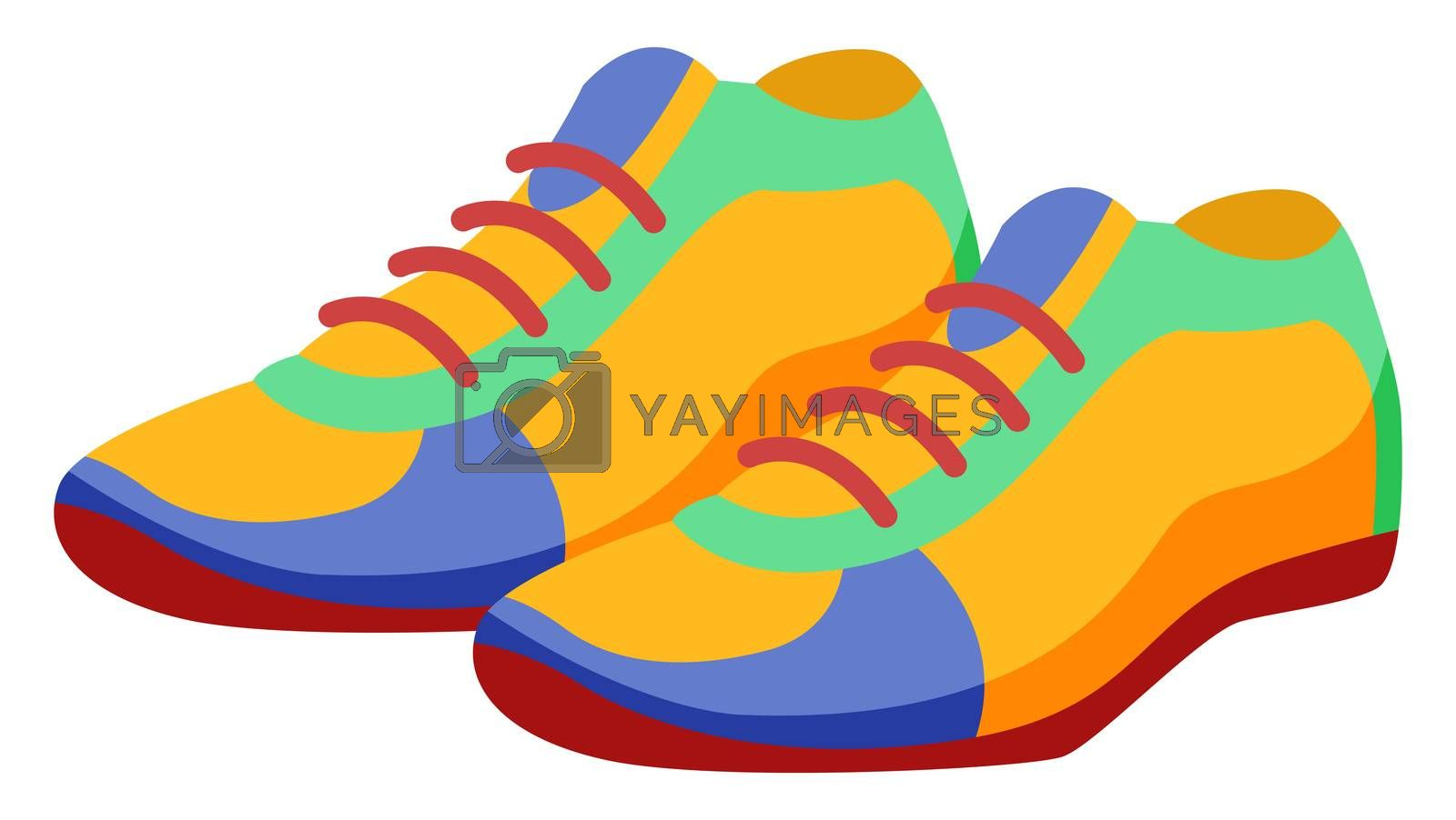 Colorful sneakers, illustration, vector on white background