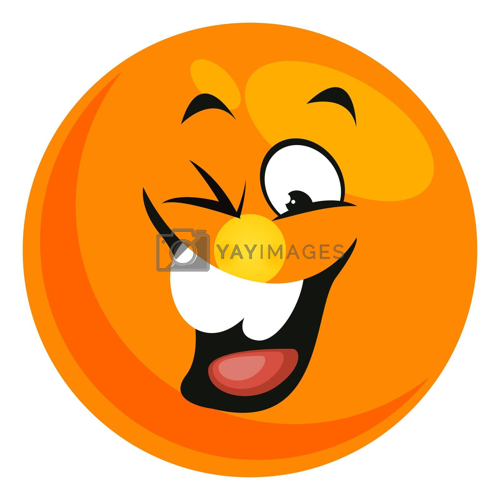 Laughing smiley, illustration, vector on white background