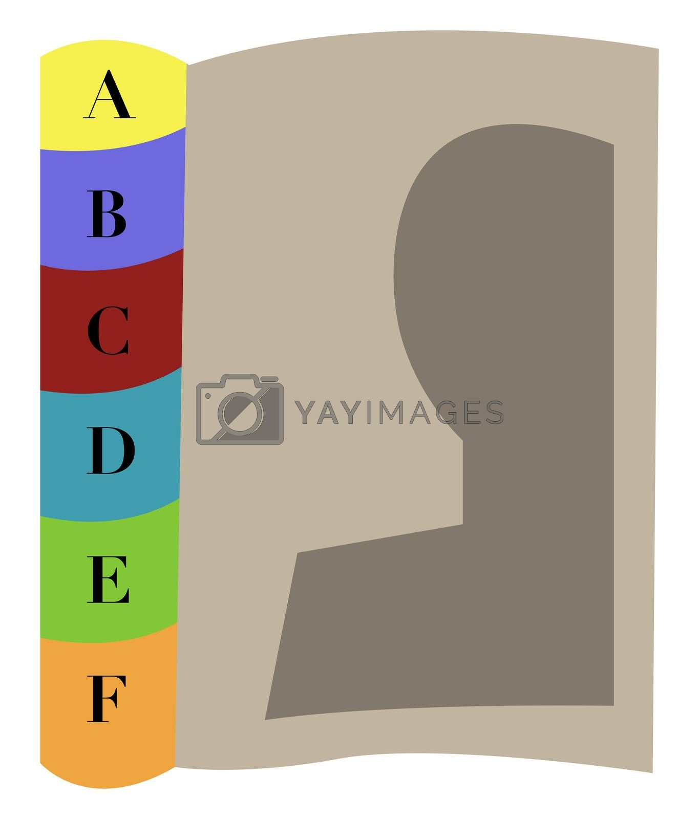 Diary book, illustration, vector on white background