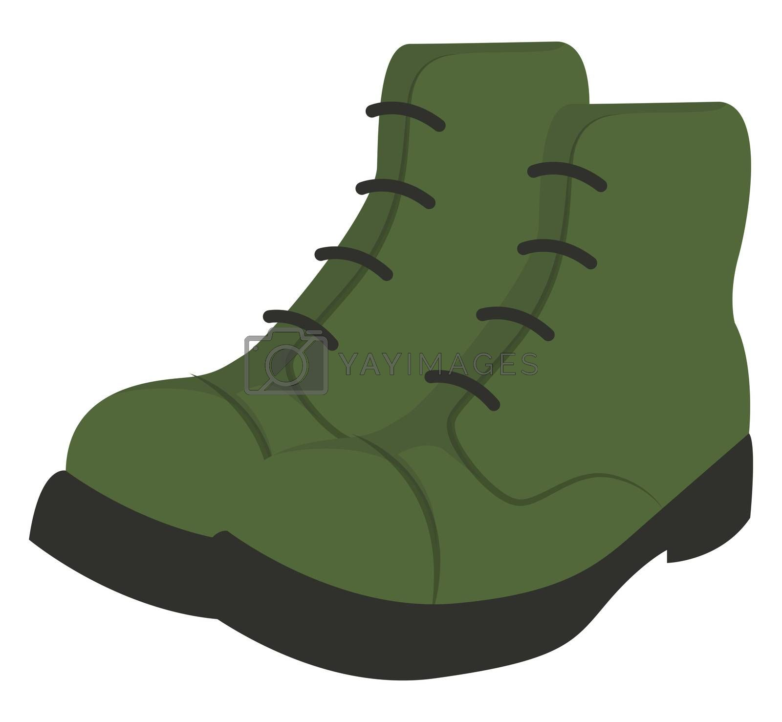 Green man boots, illustration, vector on white background