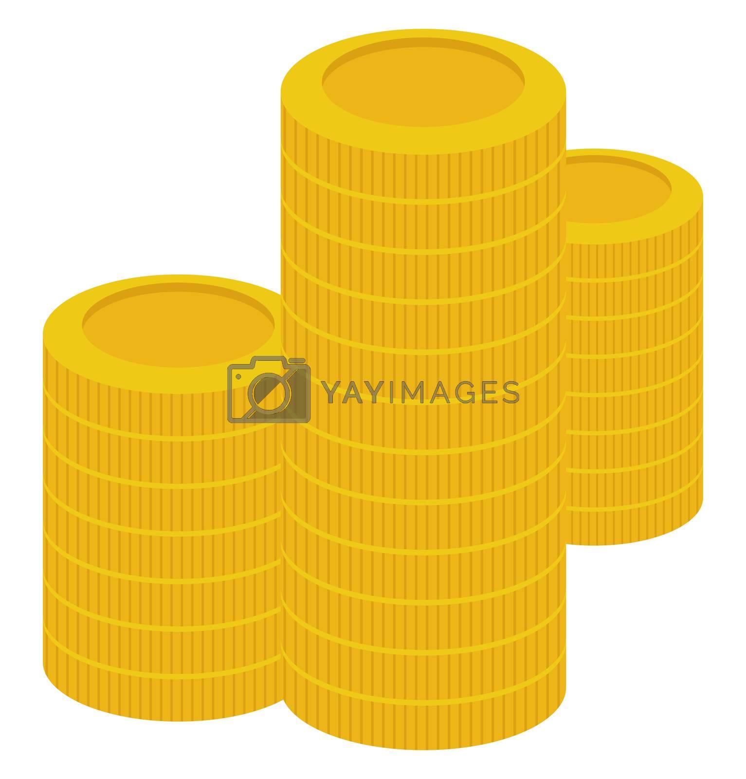 Money coins, illustration, vector on white background