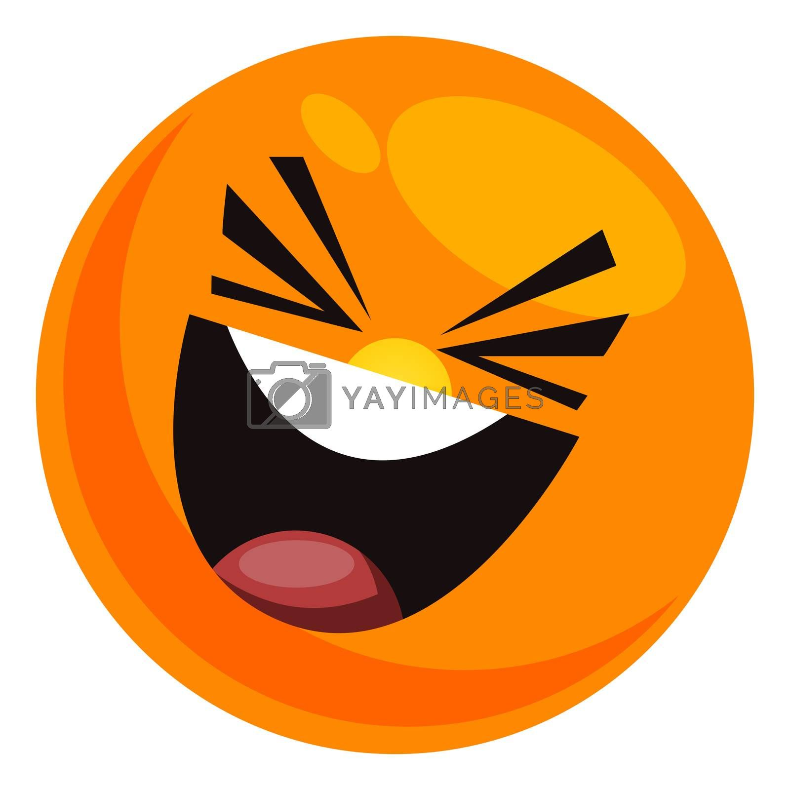 Laughing hard smiley, illustration, vector on white background