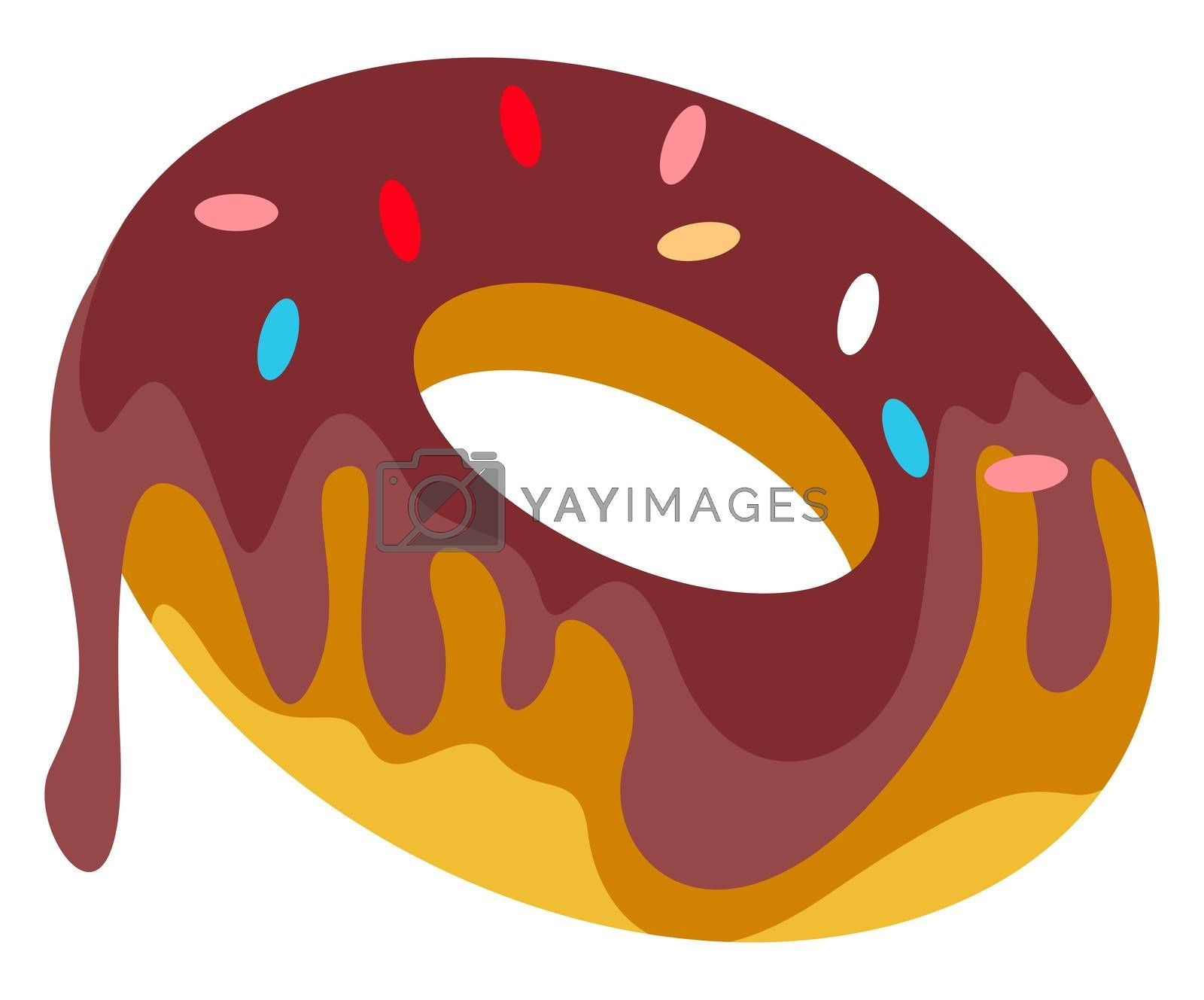 Chocolate donut, illustration, vector on white background
