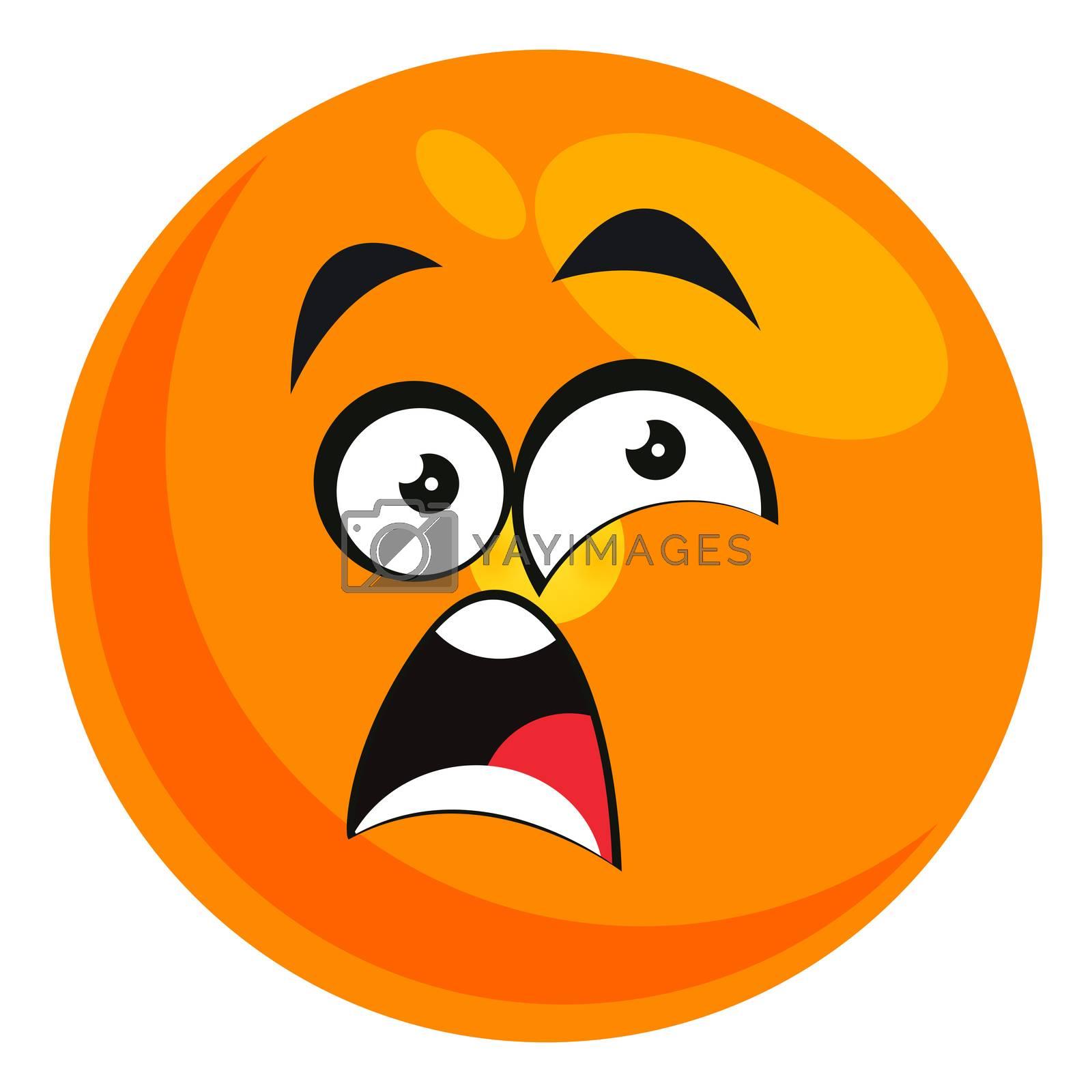 Shocked emoji, illustration, vector on white background