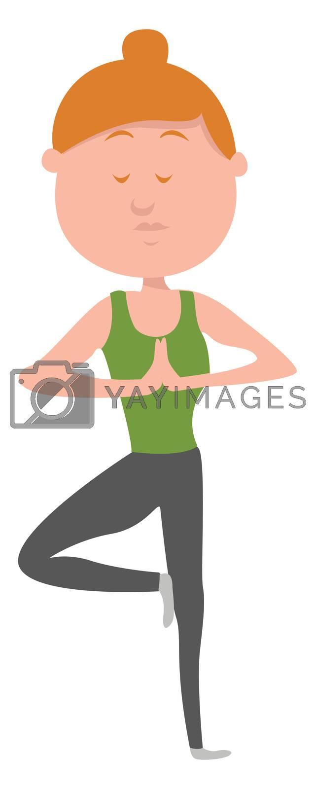 Woman doing yoga , illustration, vector on white background