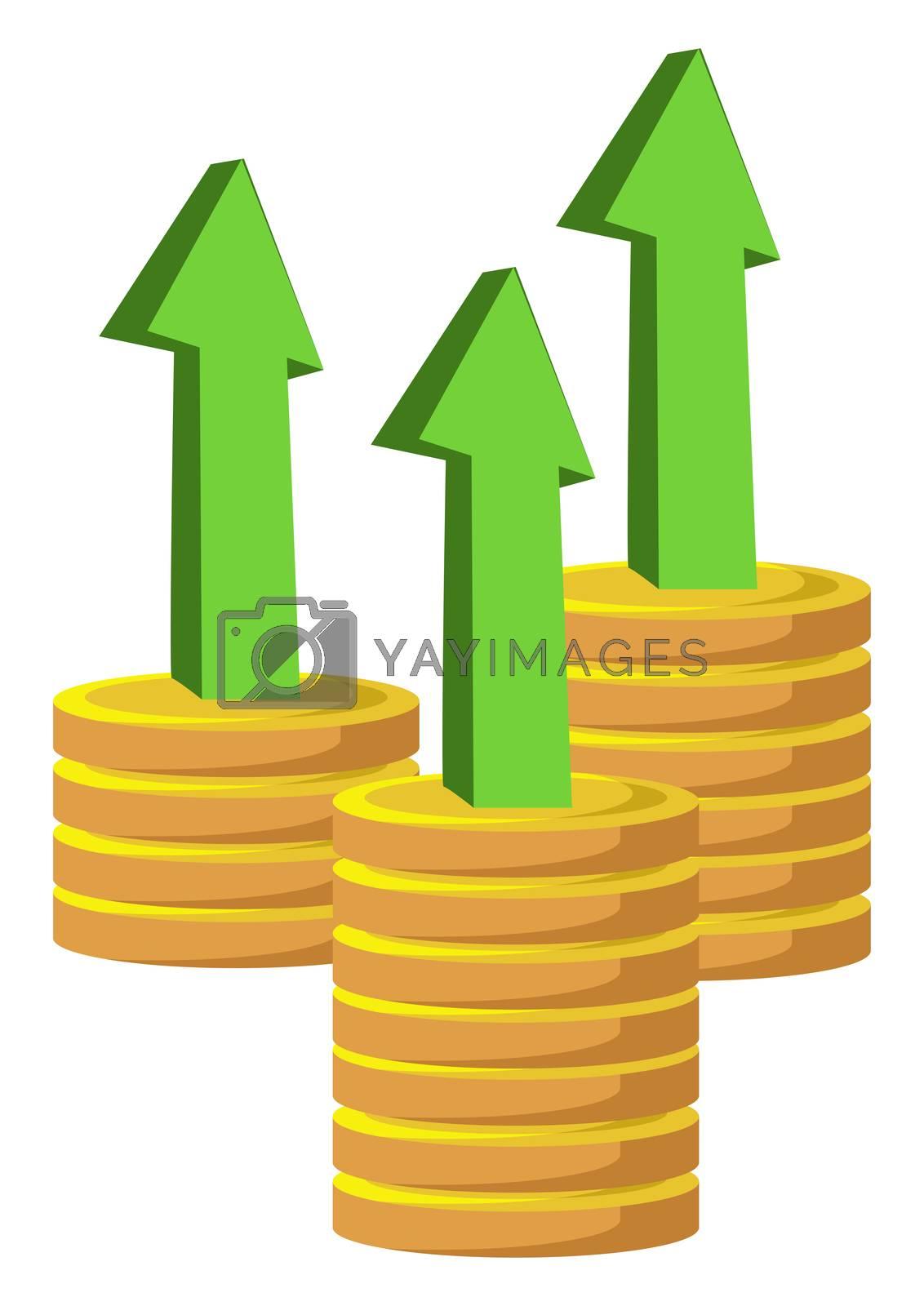 Economy growth, illustration, vector on white background