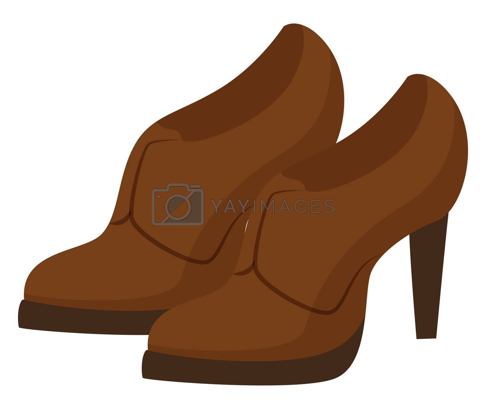 Brown woman heels, illustration, vector on white background