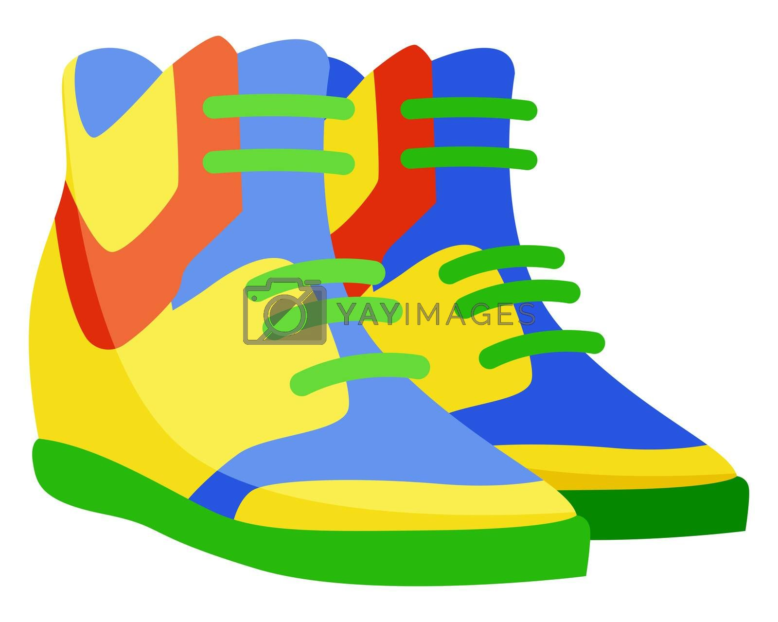 Long colorful man sneakers, illustration, vector on white background