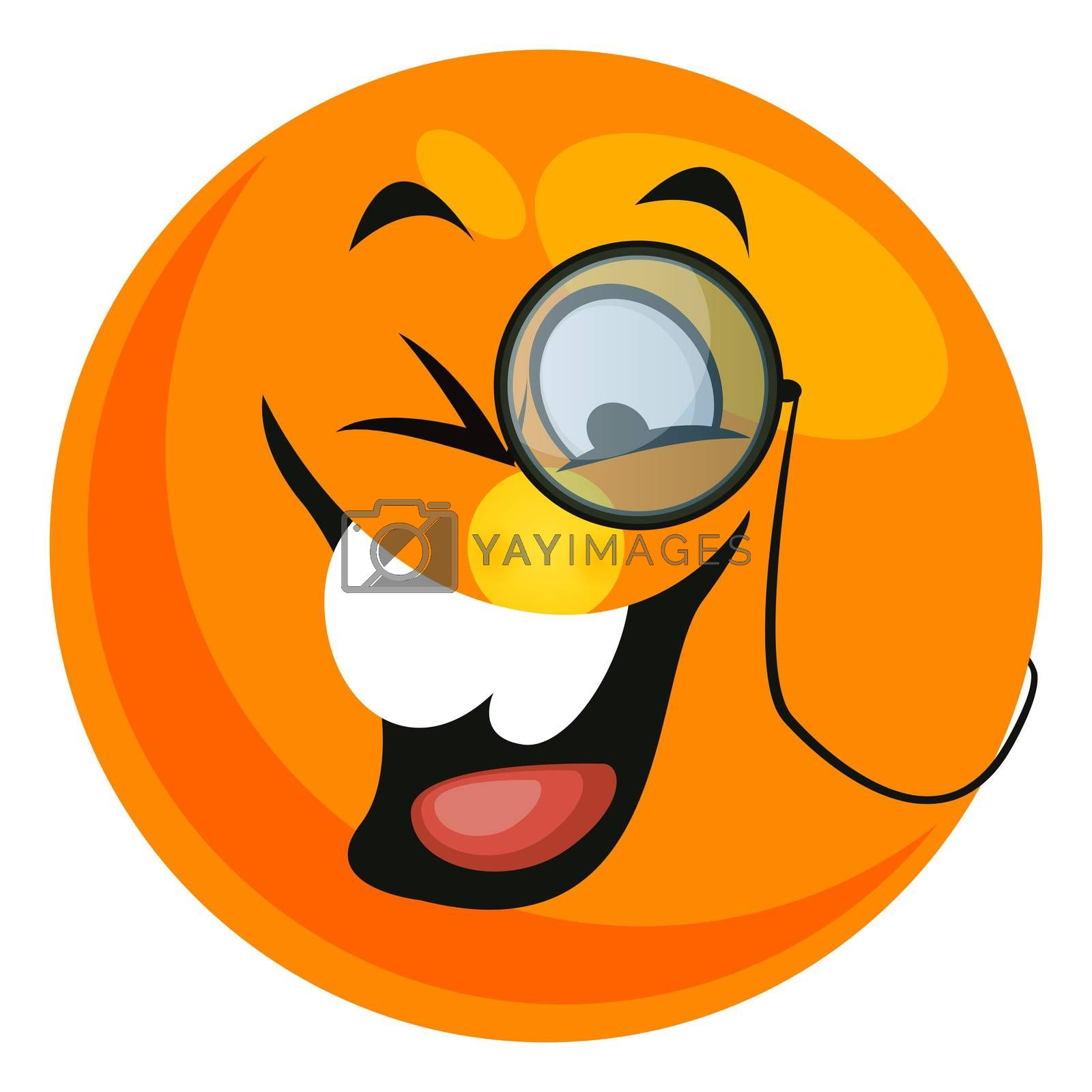 Emoji with monocle, illustration, vector on white background