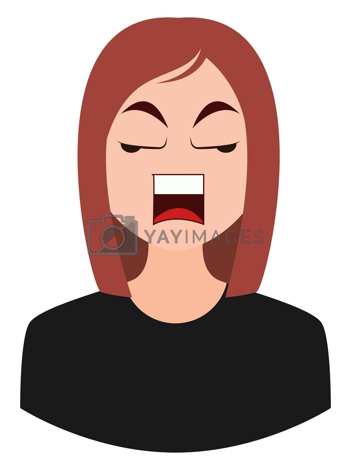 Angry girl emoji, illustration, vector on white background