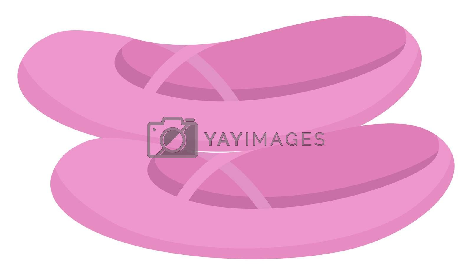 Pink ballet shoes, illustration, vector on white background