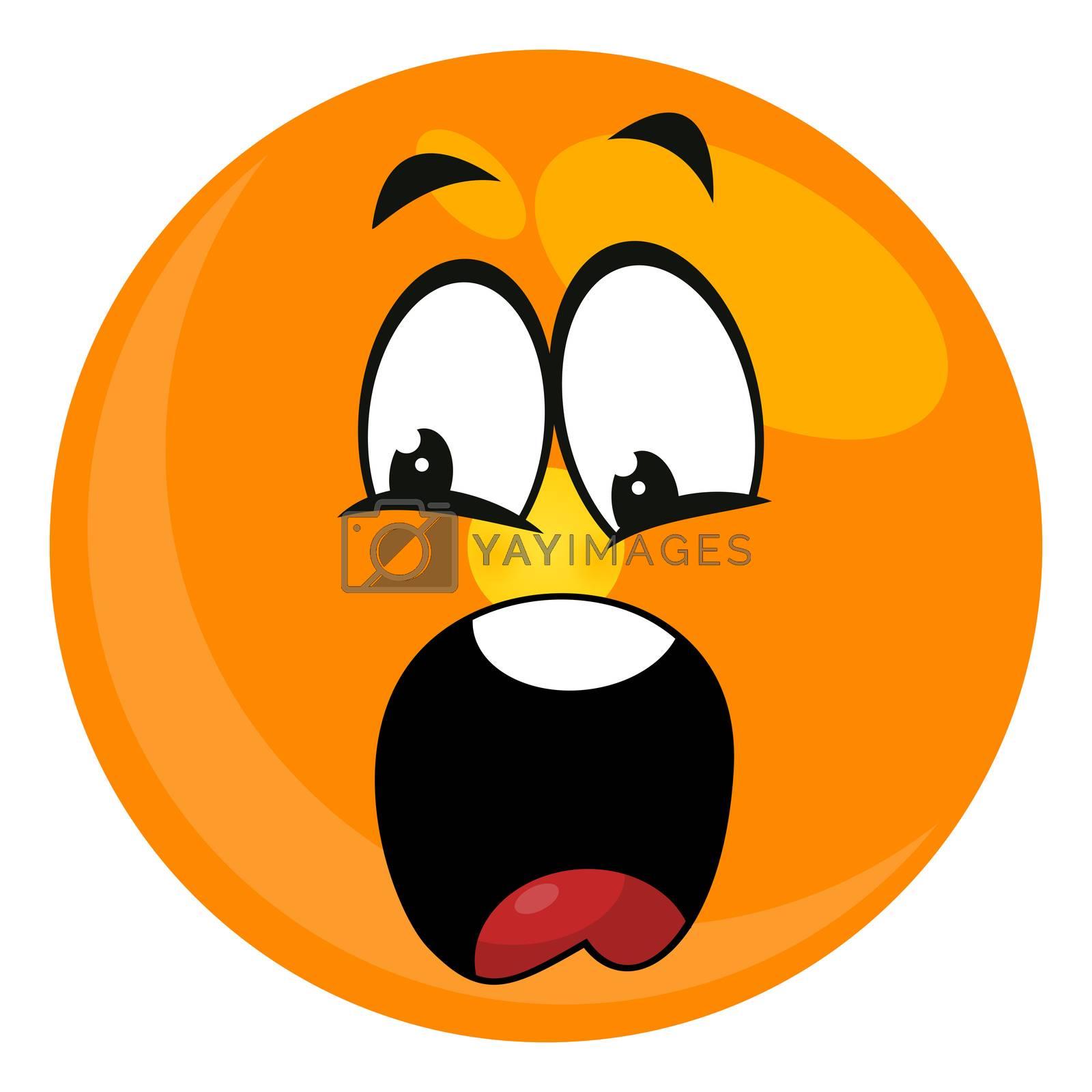 Scared emoji, illustration, vector on white background