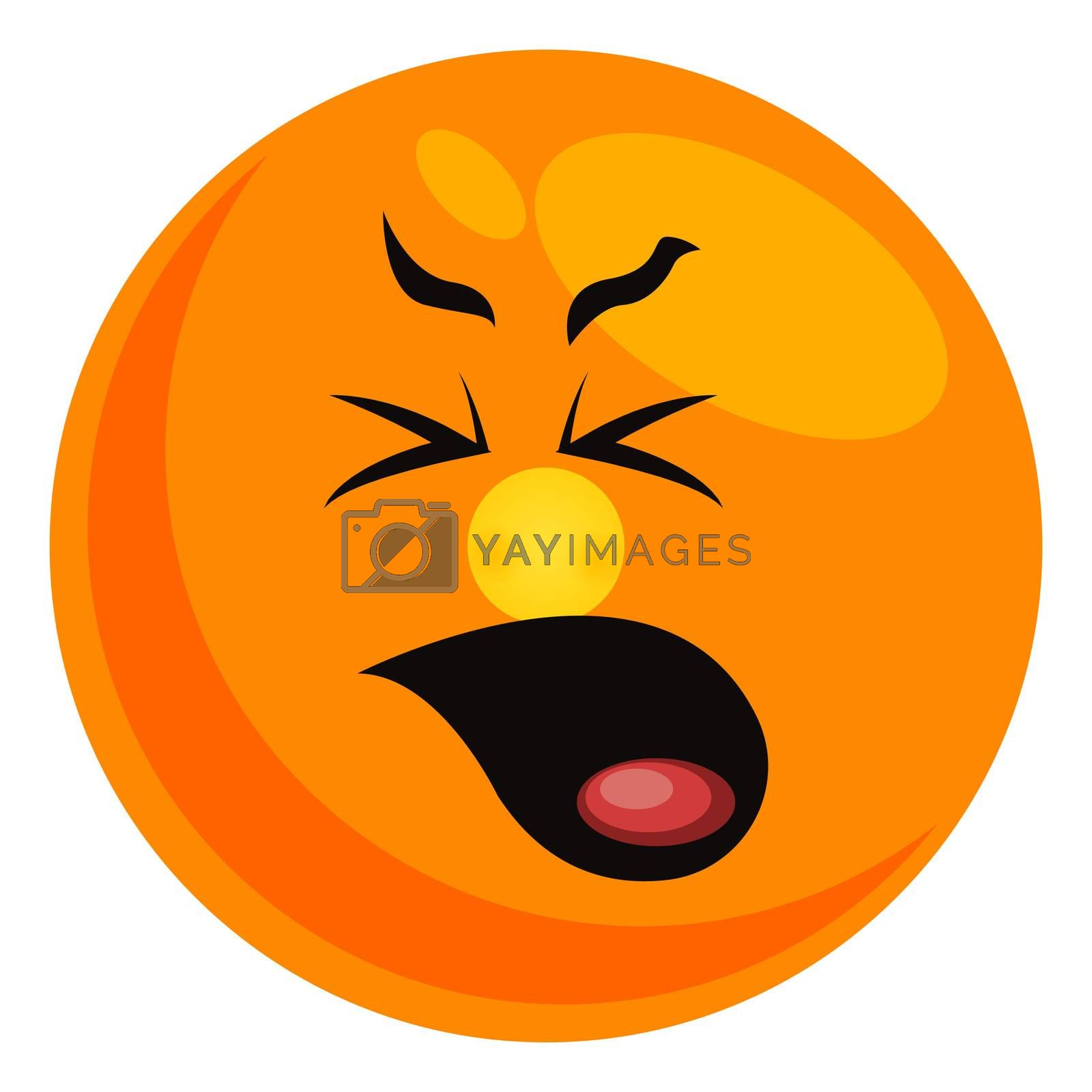 Yawn smiley, illustration, vector on white background