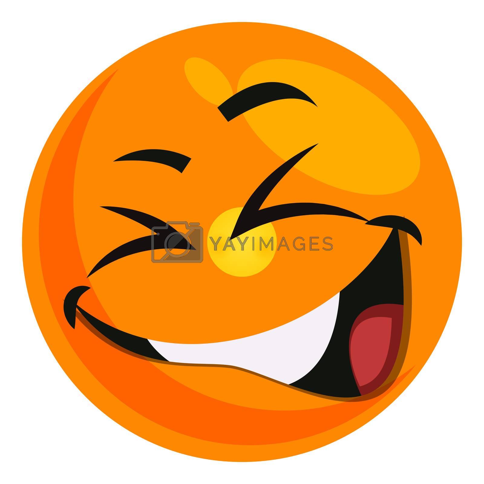 Giggling smiley, illustration, vector on white background