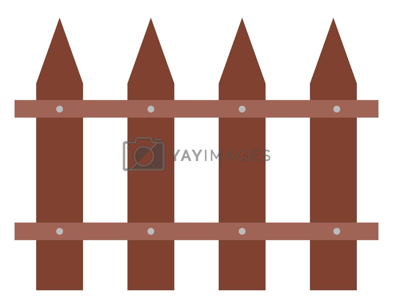 Wooden fence, illustration, vector on white background