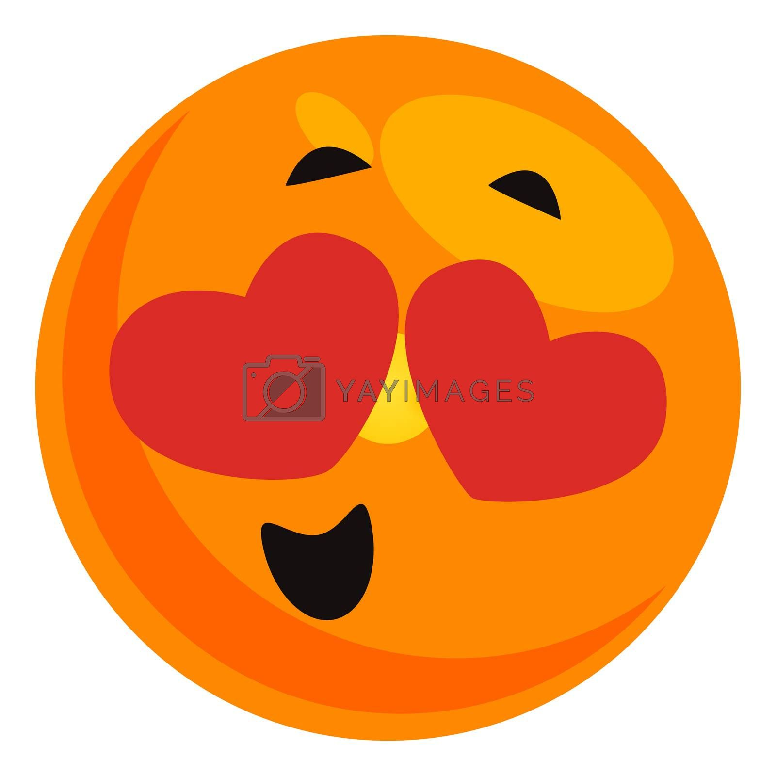 Emoji in love, illustration, vector on white background