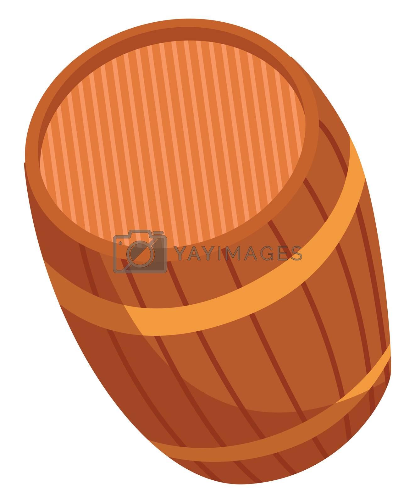 Wooden barrel, illustration, vector on white background