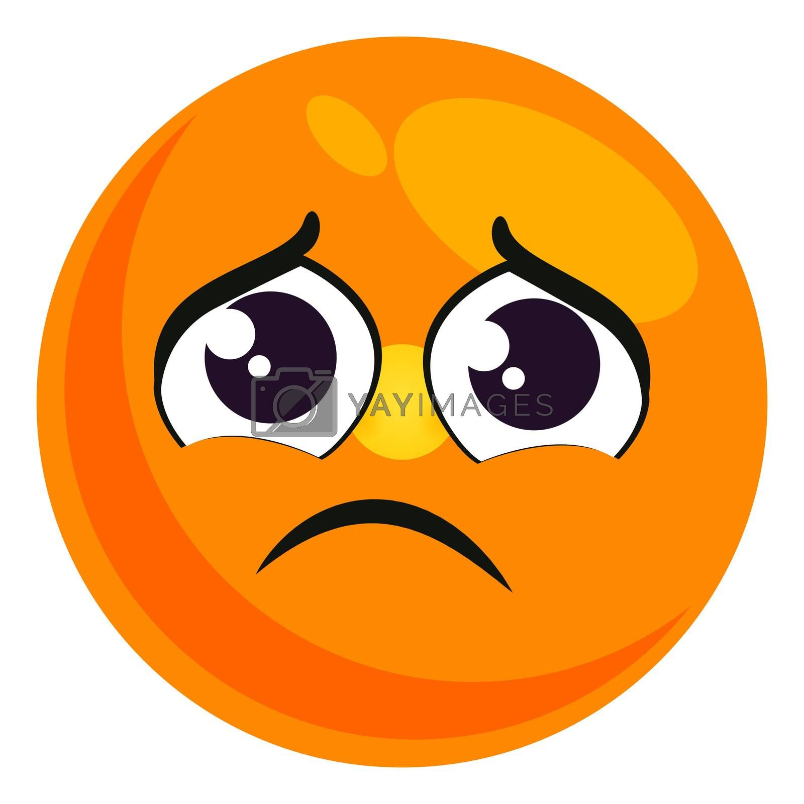 Very sad emoji, illustration, vector on white background