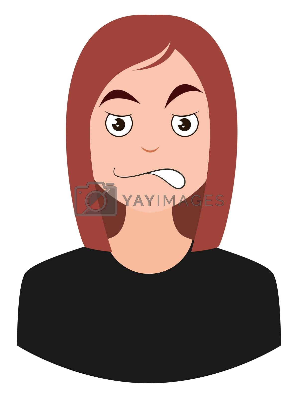 Girl with brown hair, illustration, vector on white background
