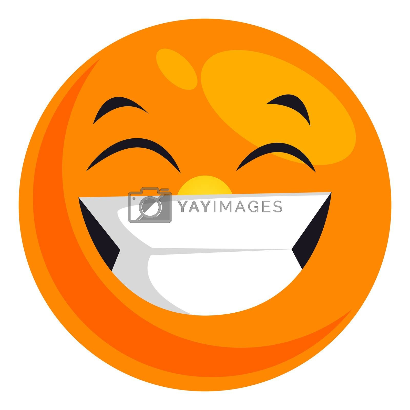 Royalty free image of Happy smiling emoji, illustration, vector on white background by Morphart