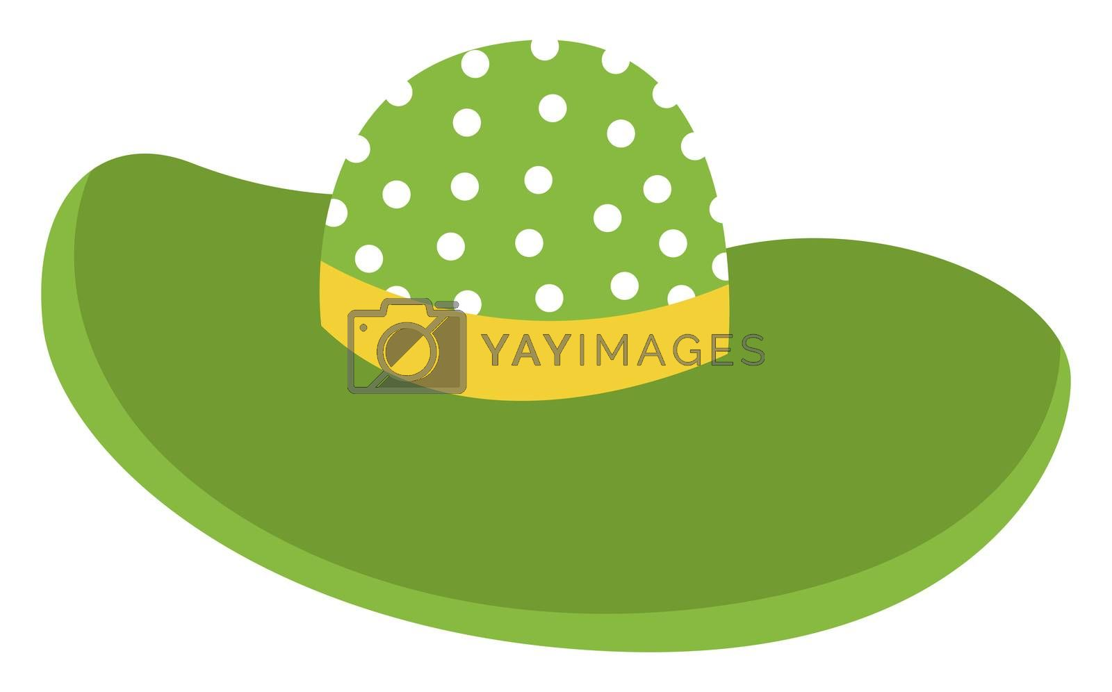 Green woman hat, illustration, vector on white background