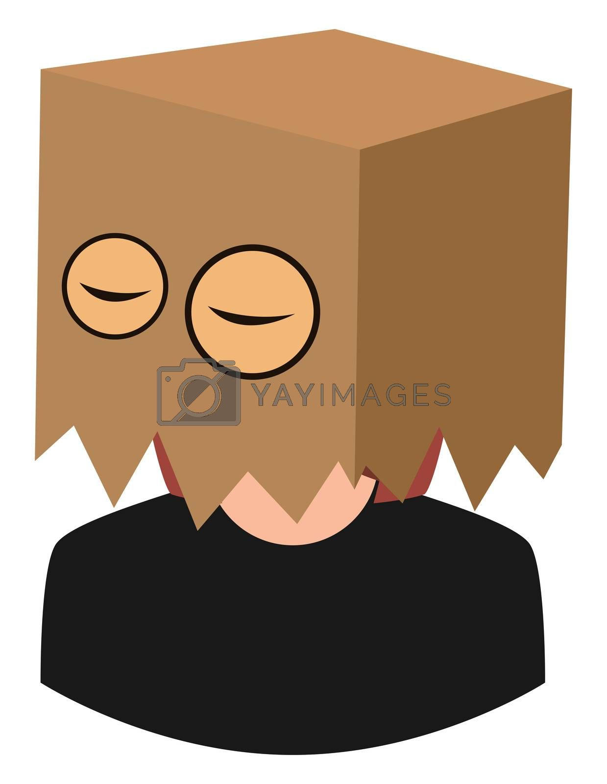 Girl with bag on head, illustration, vector on white background