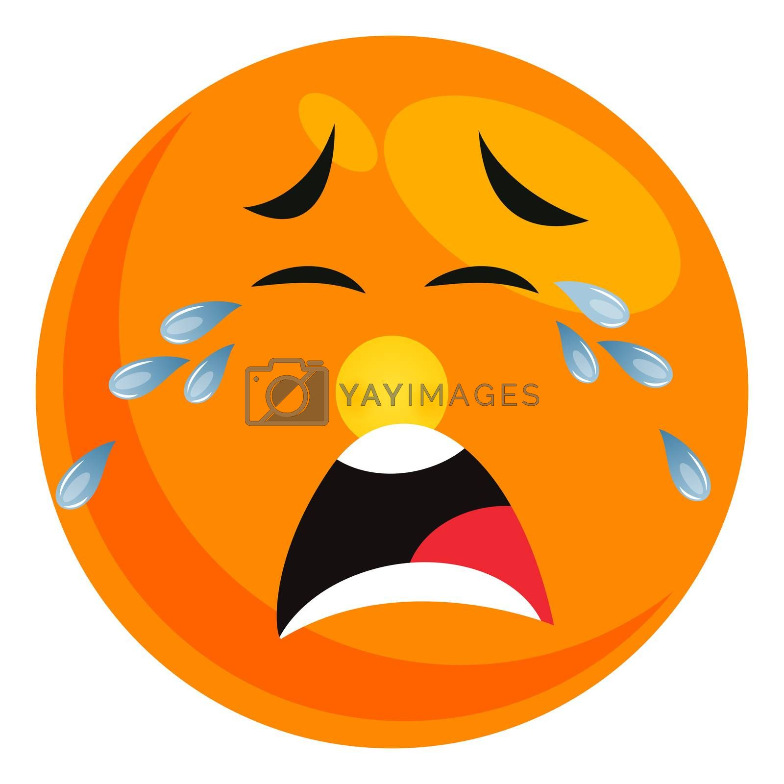 Royalty free image of Crying tears smiley, illustration, vector on white background by Morphart
